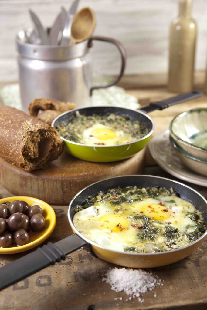 "A view of some greened shakshuka from Phyllis Glazer's book ""Bishul Bari BeKaley Kalut"" (photo credit: Anatoly Michaelo/Korim Publishers)"
