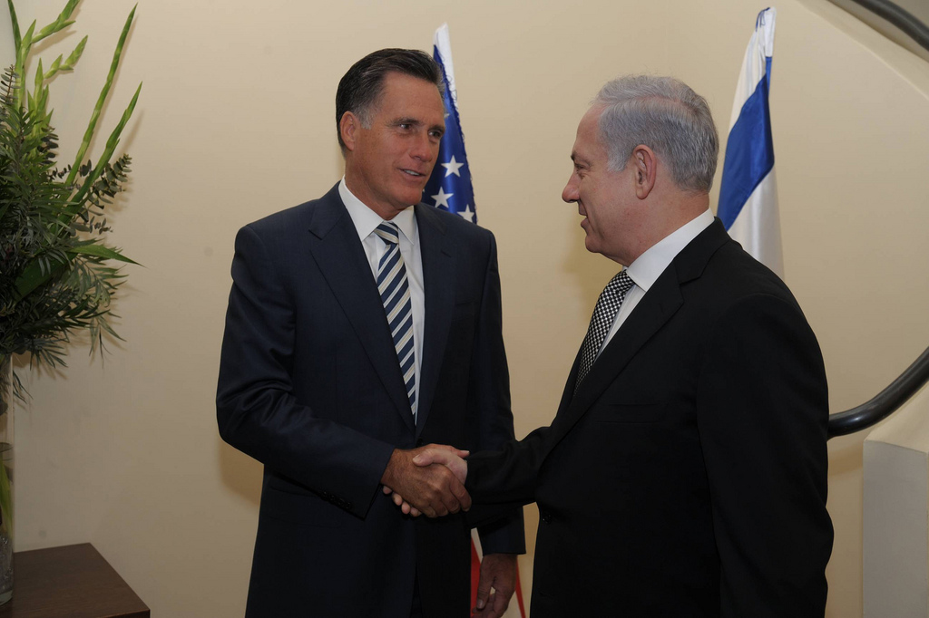 Republican presidential candidate Mitt Romney meets with Prime Minister Benjamin Netanyahu in Jerusalem in 2011 (photo credit: Amos Ben Gershom/GPO/JTA)