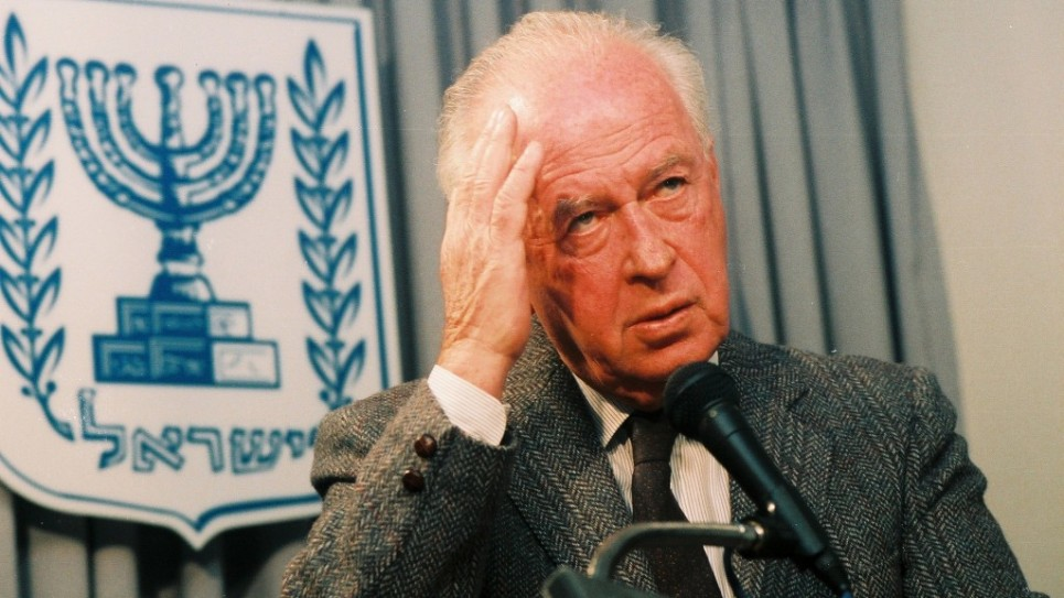Portrait of Yitzhak Rabin. Had Rabin not been assassinated in November 1995, says Yossi Beilin, 'We would now have peace.' (photo credit: Flash90)