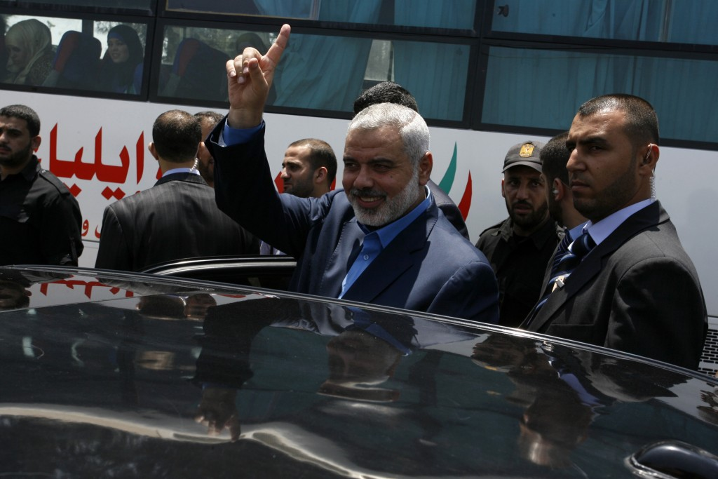 Hamas PM Ismail Haniyeh at the Rafah Border Crossing on his way to Egypt, July 25 (photo credit: Abed Rahim Khatib / Flash 90)