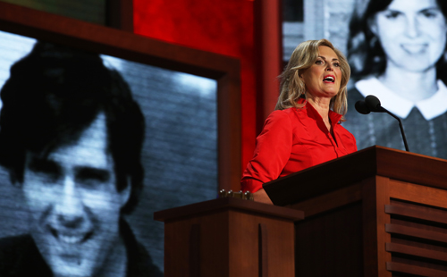 Ann Romeny giving her speech Tuesday night in Tampa. Getty Images