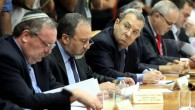 Ehud Barak next to Avigdor Liberman at 2010 cabinet meeting.  Barak criticized Liberman's recent letter to the Quartet urging for new Palestinian elections (photo credit: Amit Shabi/POOL/FLASH90)