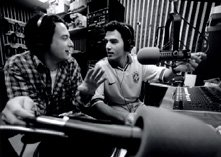 Hussein (right) and Michael Bavly at their 'Just Like You' Brandeis radio show (photo credit: Courtesy)