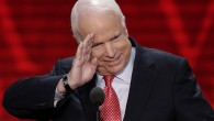 Sen. John McCain of Arizona salutes before addressing the Republican National Convention in Tampa, Fla., on Wednesday, Aug. 29, 2012 (photo credit: AP/J. Scott Applewhite)
