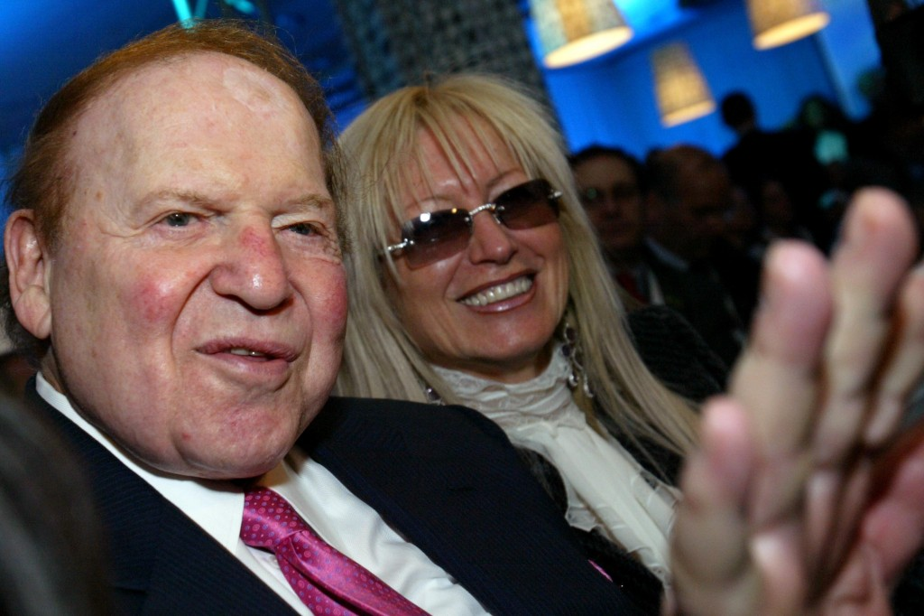 Sheldon Adelson and his wife Miriam. (Olivier Fitoussi /Flash90)
