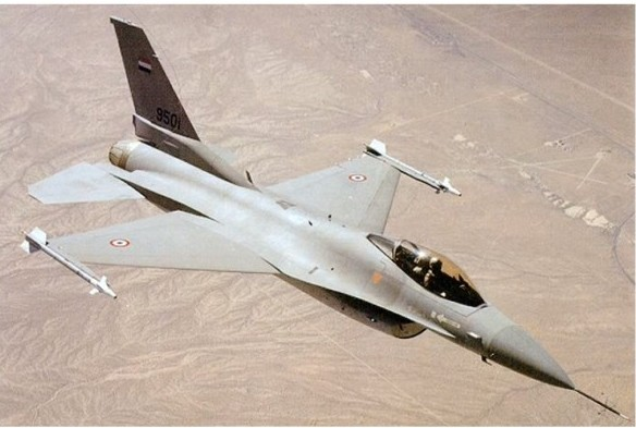 Illustrative photo of Egyptian Air Force F-16 fighter jet. (photo credit: Image capture from YouTube video uploaded by somuchverycool)