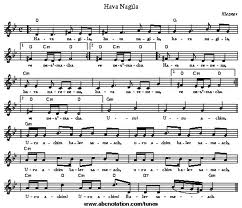 Sheet music for Hava Nagila.