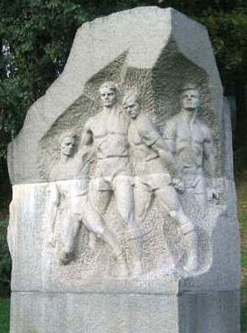 The 'Death Match' statue at Dynamo Kiev, of players Ivan Kuzmenko, Mykola Trusevich, Olexiy Klimenko and Mykola Korotkikh
