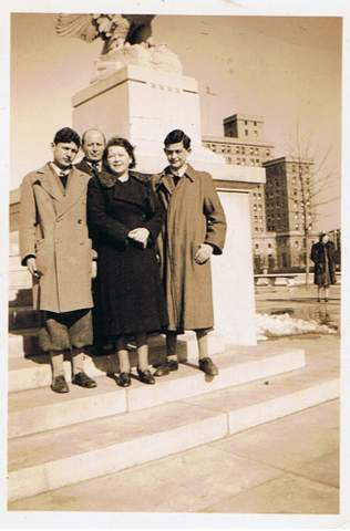 The author's father and his family on their first day in America, in New York City, February 1940. Both kids are wearing short pants -- the appropriate fashion for Austrian boys at the time. (photo credit: courtesy Heddy Abramowitz)