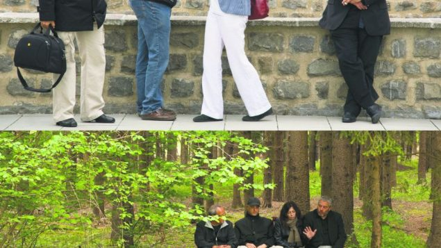Retracing dad's footsteps: Filmmaker David Fisher and his siblings at Mauthausen, top, and on park bench.