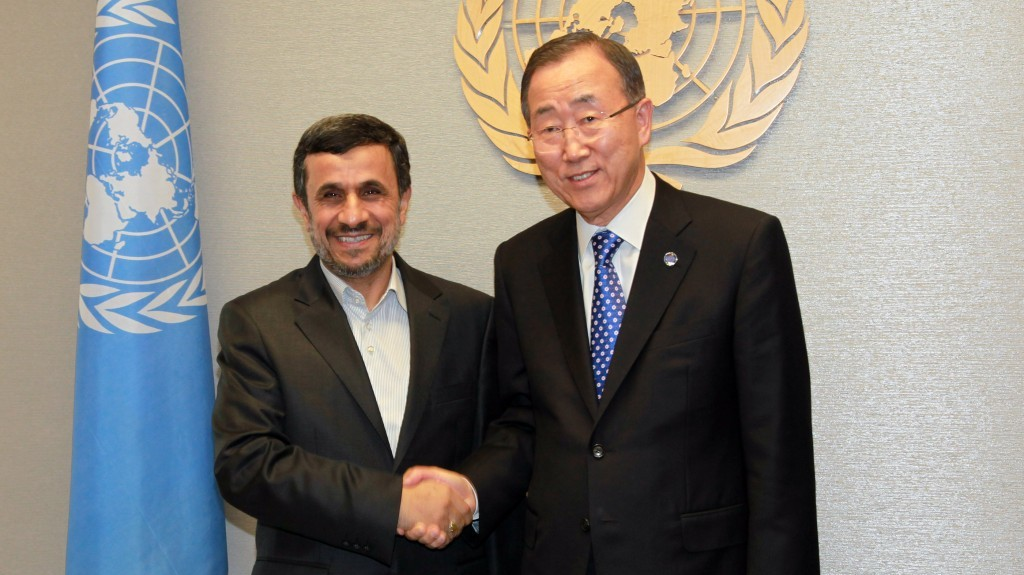 Iranian President Mahmoud Ahmadinejad meets with UN Secretary-General Ban Ki-moon at the United Nations Headquarters in New York on Sunday (photo credit: AP/David Karp)