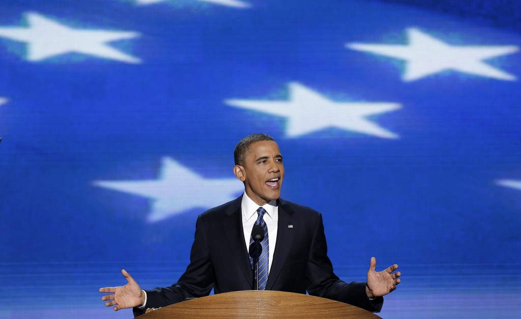 US President Barack Obama addresses the Democratic National Convention in Charlotte, North Carolina, on Thursday, Sept. 6, 2012 (photo credit: J. Scott Applewhite/AP)