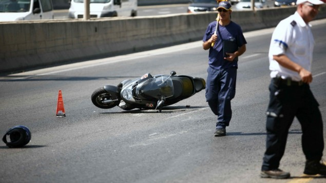 Illustrative photo of a motorcycle after a fatal accident in June, 2012 (photo credit: Yehoshua Yosef/Flash90)