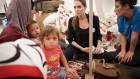 UNHCR Special Envoy Angelina Jolie meets with Syrian refugee families in an undisclosed refugee camp close to the Syrian border in eastern Turkey Thursday, Sept. 13 (photo credit: AP/UNHCR, Jason Tanner)