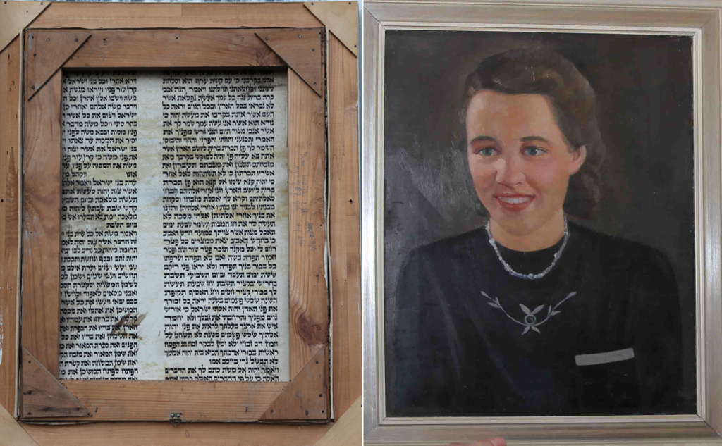The painting of Hedwig Mayer. On the left is a view of the back of the painting -- a section of Torah scroll. Click to view full size. (photo credit: courtesy)