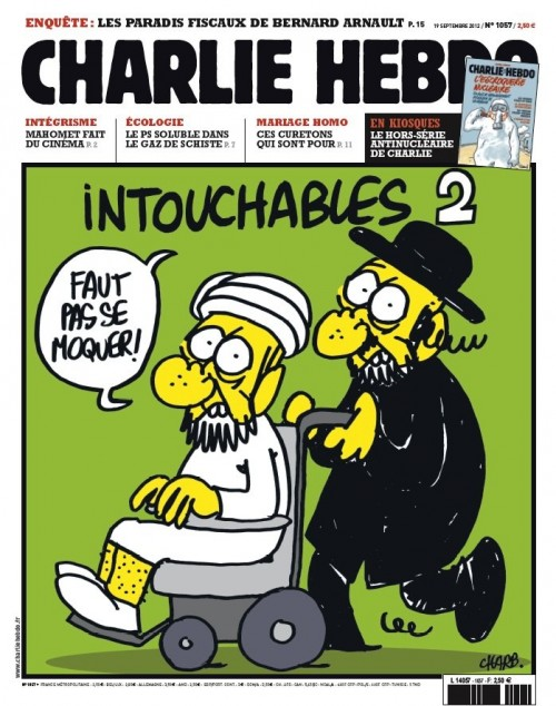 The cover of Charlie Hebdo's Wednesday issue, depicting an ultra-Orthodox man pushing a wheelchair-bound Muslim