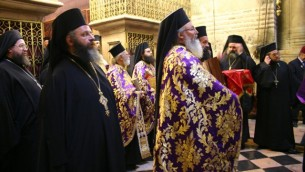 Greek Orthodox priests at Easter, at the Church of the Holy Sepulcher (photo credit: Shmuel Bar-Am)