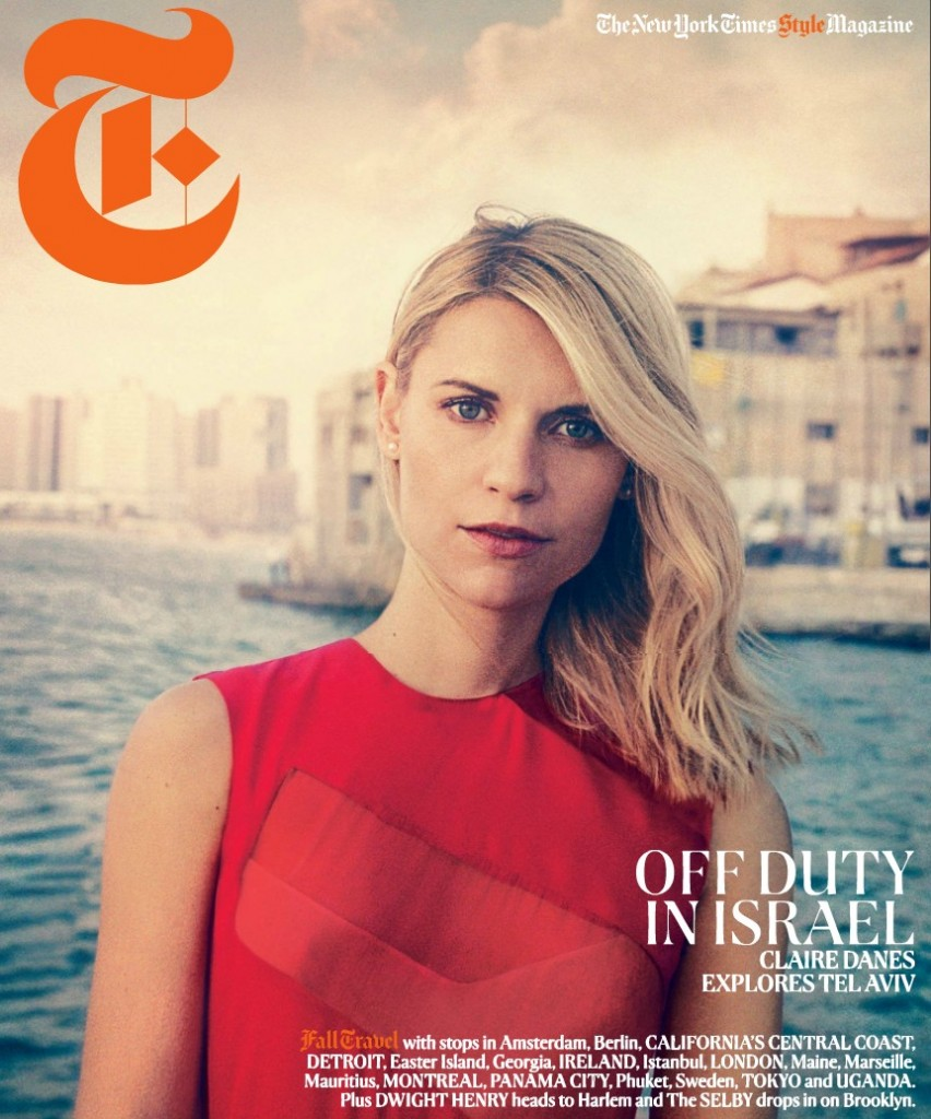 The cover of a New York Times T Magazine issue featuring a photo shoot with actress Clare Danes in Israel
