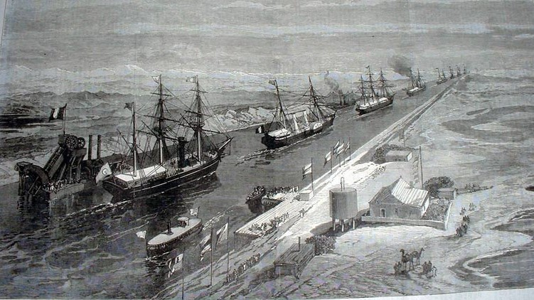 1869 suez canal procession (photo credit: public/iln.org.uk)