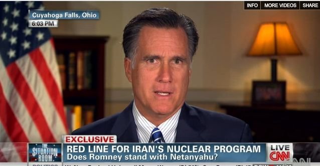 Republican presidential candidate Mitch Romney speaks to CNN on Tuesday 9th October, 2012. (screen capture: CNN)