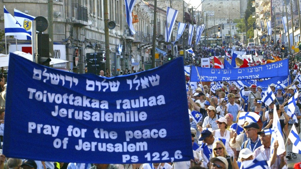 Christian supporters of Israel march during a parade for the Feast of Tabernacles in Jerusalem in 2006. Thousands of Evangelical Christians are participating in an annual pilgrimage to support Israel (photo credit: Olivier Fitoussi/Flash90)