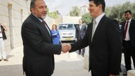 Romanian Foreign Minister Titus Corlatean (R) meets with Foreign Minister Avigdor Liberman in Jerusalem. (photo credit: Miriam Alster/Flash90)