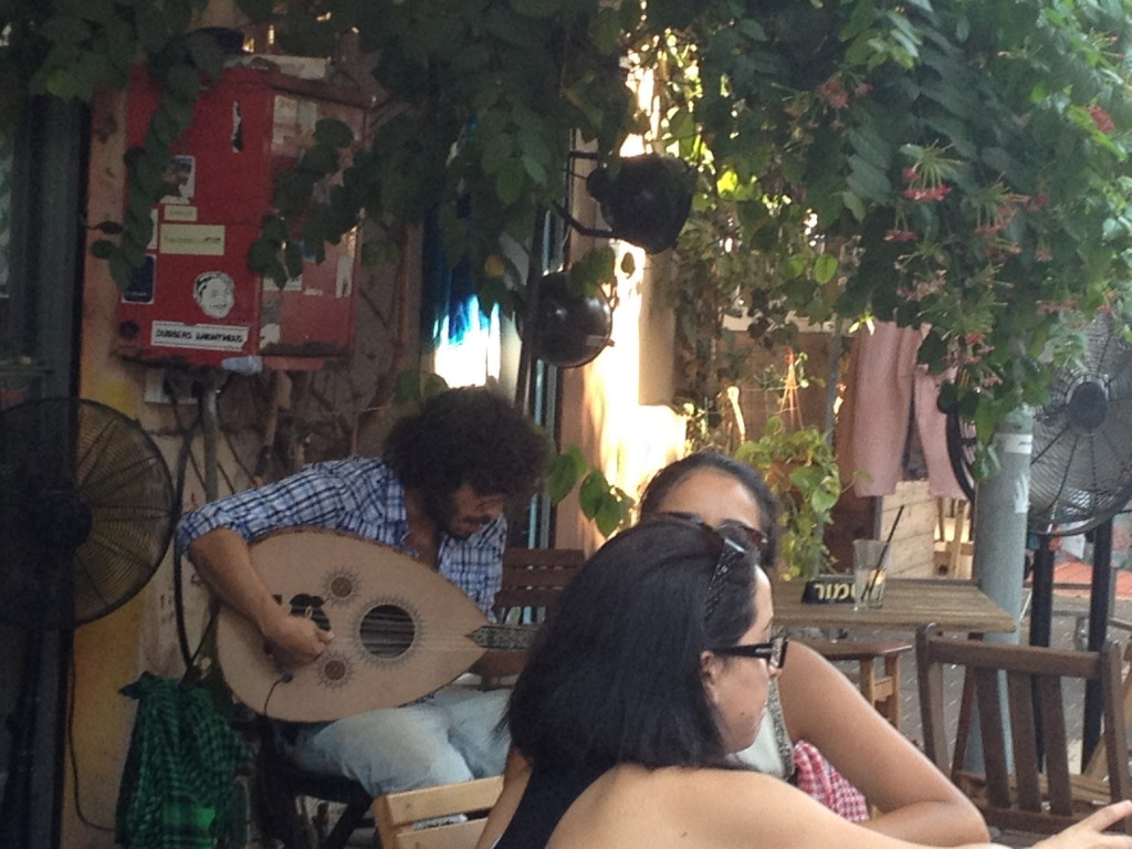 Live music at Margoza on a Friday afternoon (photo credit: Michal Shmulovich/ToI)