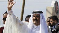 Emir of Qatar Sheikh Hamad bin Khalifa al-Thani in Gaza City in October. (photo credit: (photo credit: AP/Hatem Moussa)