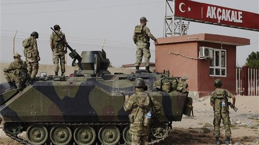 A Turkish military station at the border with Syria (photo credit: AP)