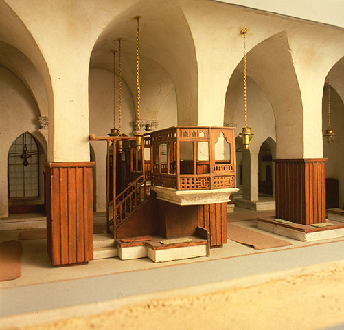 A detail of the Aleppo synagogue, from the Beit Hatfutsot model (Courtesy of Beit Hatfutsot, Museum of the Jewish People, Tel Aviv)