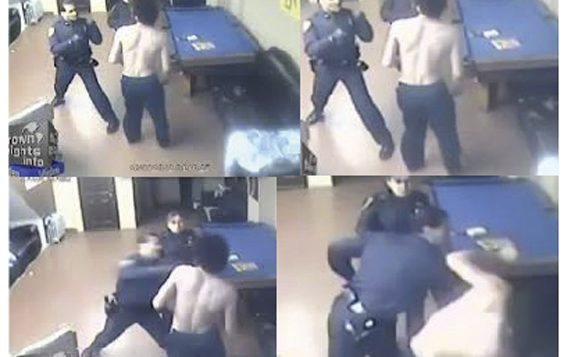 The officer seen hitting Ehud Halevy in these video images has been placed on modified assignment. CrownHeights.info