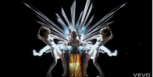 Lady Gaga dancers wearing Kobi Levi's double boots in the &quot;Born This Way&quot; video (Courtesy YouTube)