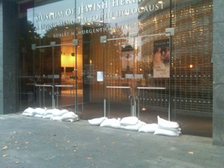 Sandbags protected the entrance of the Museum Of Jewish Heritage-Living Memorial To The Holocaust from the expected storm surge.