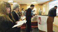 Afternoon prayers at the United Synagogue's offices. MICHAEL DATIKASH