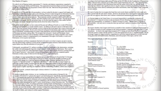 A letter to Congress by prominent American Protestant leaders. JTA