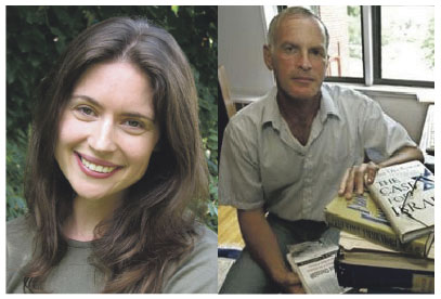 Anna Baltzer, left, rebutted argument from Norman Finkelstein that BDS movement should recognize Israel's right to exist.
