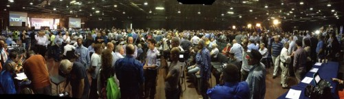 A panoramic view of the Likud Central Committee meeting (photo credit: Raphael Ahren/The Times of Israel)