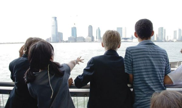 Tashlich on New York Harbor, during a new congregation's Rosh HaShanah celebration. Photo courtesy of Tamid