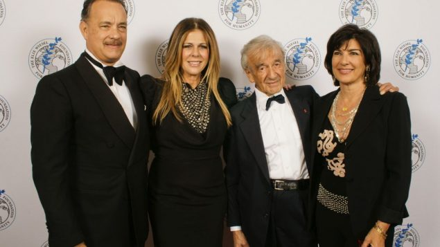 Tom Hanks, Rita Wilson, Elie Wiesel and Christiane Amanpour at the Wiesel Foundation's gala.