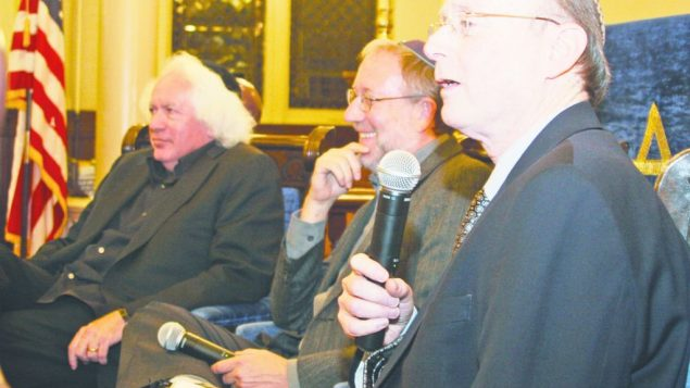 Jewish Week's Gary Rosenblatt, right, leads discussion with Leon Wieseltier, left, and Yossi Klein Halevi. michael datikash