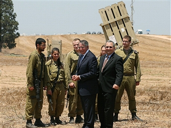 Defense Secretary Leon Panetta inspected the Iron Dome in August. A launcher is visible in the background. Getty Images