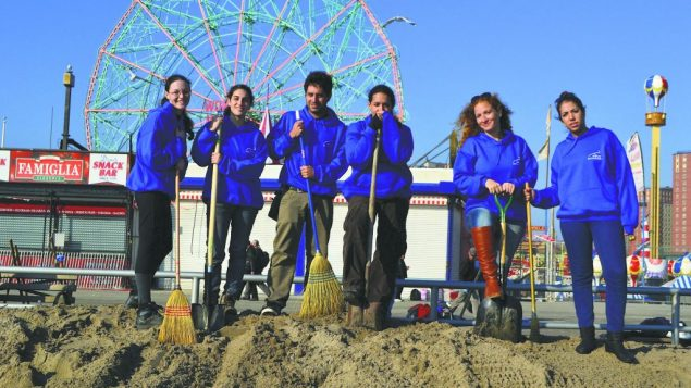 Israeli volunteers from Ein Prat, helping Coney Island's hurricane cleanup.