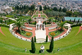 From the Baha'i Gardens in Haifa, the author could glimpse Lebanon, home of Hezbollah. Getty Images