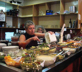 Sima and Pnina Birnbaum serving up salads (photo credit: Nataly Safir)