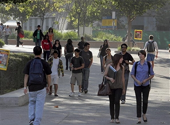 Students on campus at the University of California's sunny Irvine campus. Getty Images