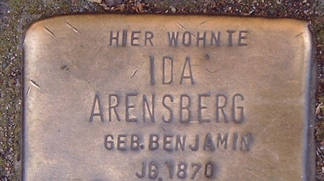 Stumbling block, or Stolpersteine, in Bonn, Germany (photo credit: Hans Weingartz/Wikimedia Commons)