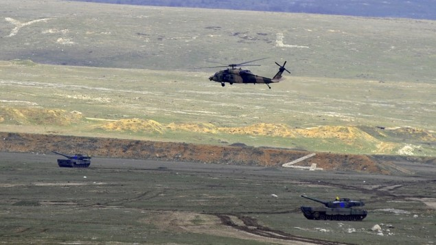 Illustrative photo of a Turkish military helicopter participating in a large-scale exercise. (photo credit: Wikimedia Commons, Turkish Armed Forces)