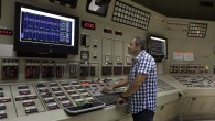 An employee of Israeli Electric Corporation worker in one of the control rooms of Rotenberg power plant near the coastal city of Ashkelon, July, 2012. (photo credit: Tsafrir Abayov/Flash90)