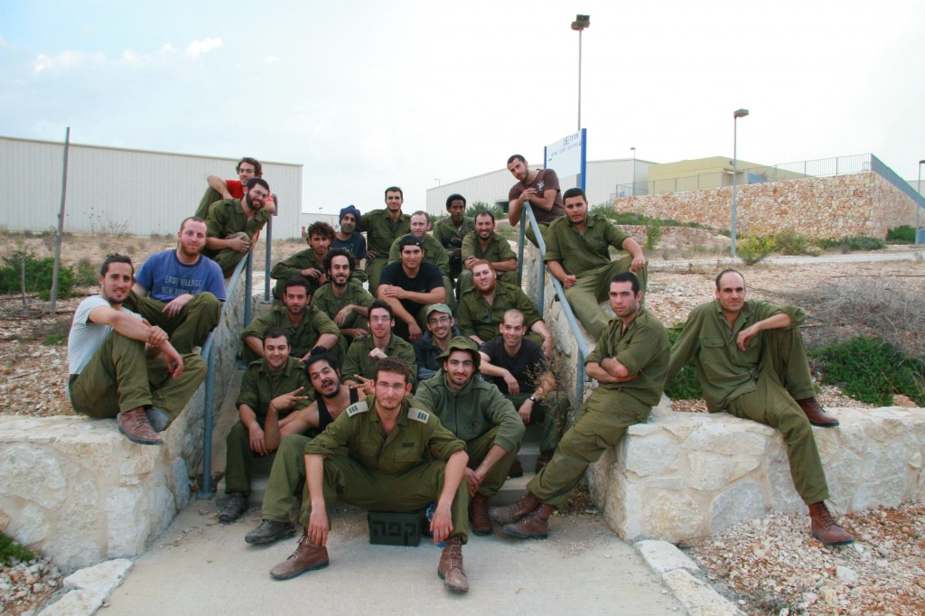 The platoon, with the commander in the center, seated on the coffee kit, an indispensable piece of gear in any IDF field unit (Photo credit: Alon)