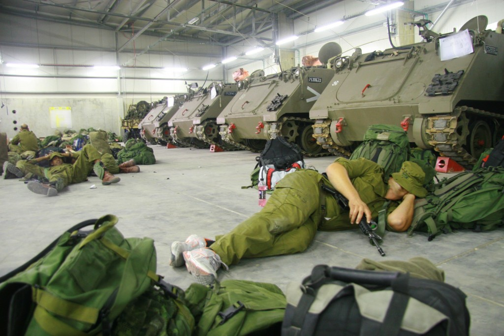 Reservists practicing the soldierly skill of sleeping whenever possible (Photo credit: Alon)